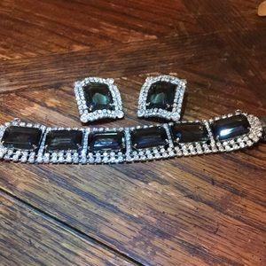 Smoky rhinestone bracelet & clip on earrings